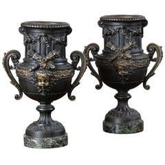 Pair of Louis XVI Period Neoclassical French Mantel Urns