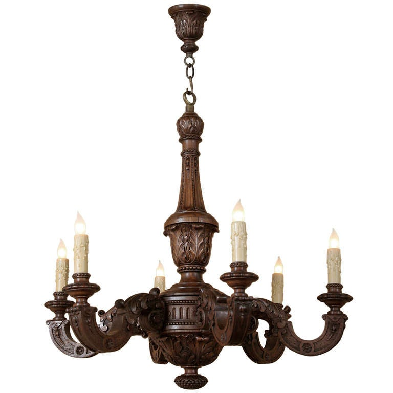 Vintage louis xiv wood chandelier at 1stdibs for Wood pendant chandelier