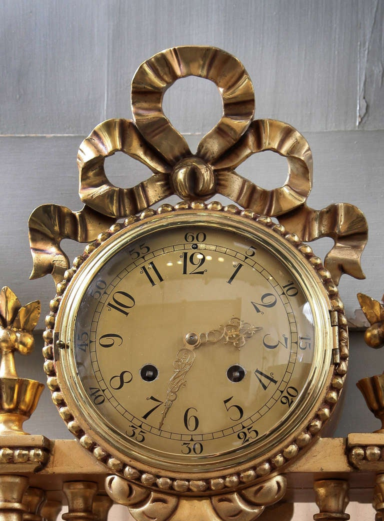 Antique swedish hand carved gilded wall clock at stdibs