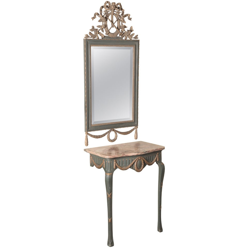 19th Century French Louis XVI Hand Carved Painted and Gilded Console with Mirror