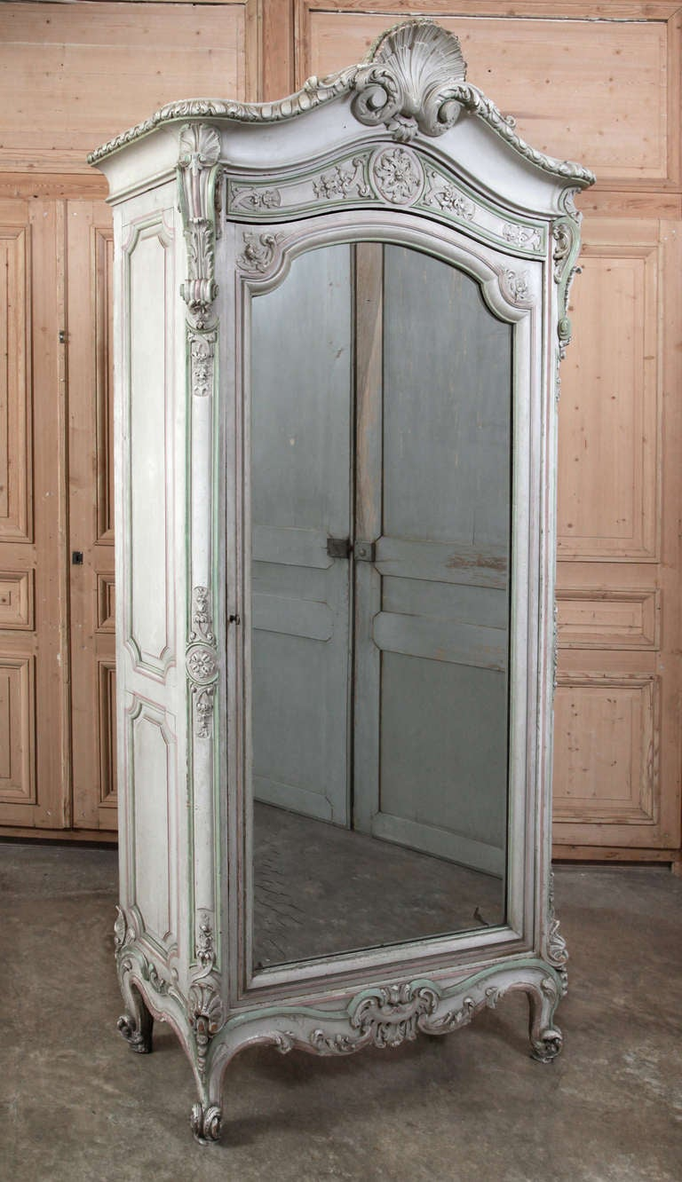 Antique French Regence Painted Armoire At 1stdibs