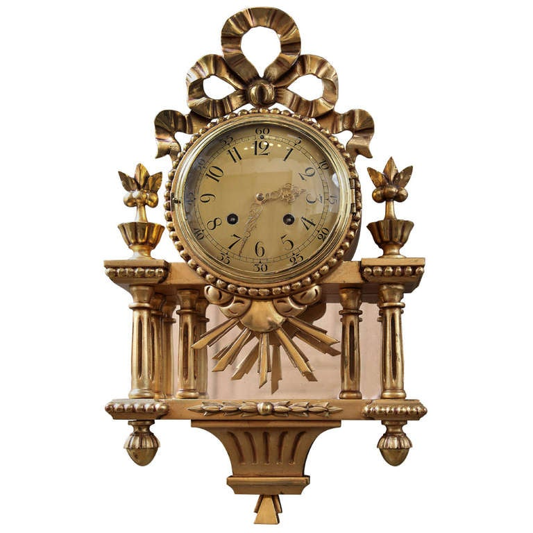 Antique Swiss Gilded Wall Clock At 1stdibs