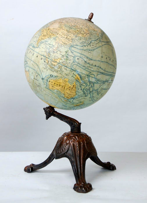Antique French Globe on Cast Iron Base ~ Saturday Sale ~ 2