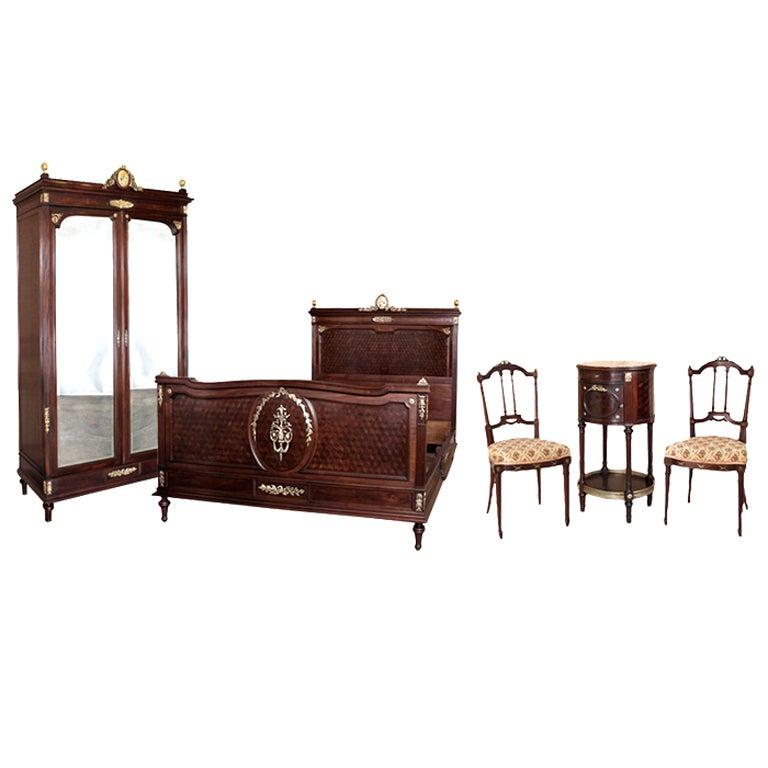 Antique Louis Xvi Mahogany Bedroom Furniture Set