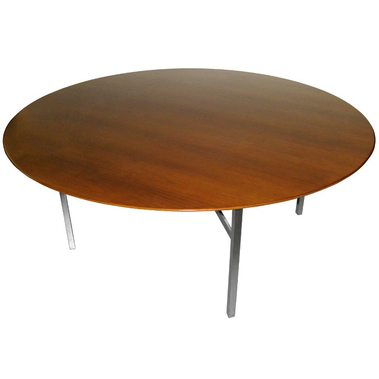 knoll huge 6 foot round walnut table with iron legs at