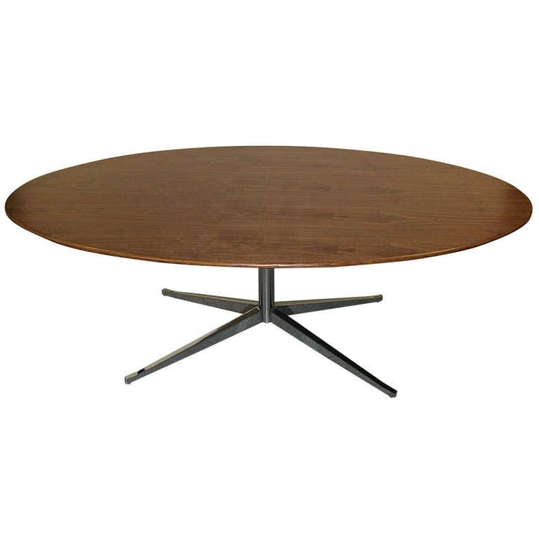 Knoll 84 Oval Walnut Table at 1stdibs