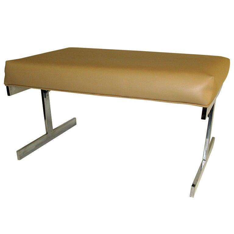 1960 Chrome Base Cushion Seat Bench Small Size At 1stdibs
