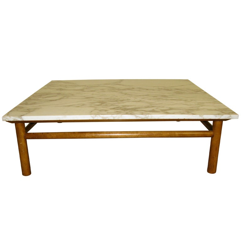 Marque Genuine Marble Top Coffee Table: Large -1950 Robsjohn Gibbings Marble-Top Coffee Table At