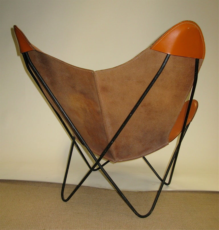 Great Butterfly Chair with Original Leather Seat at 1stdibs