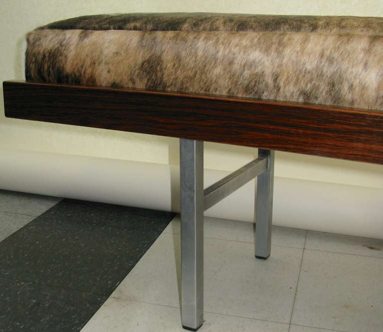 1960 Slim Profile Rosewood Bench with Cowskin Cushion at ...