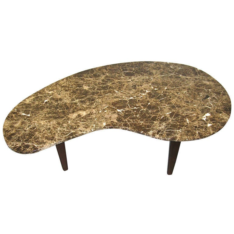 Stylish 1960 Organic Shaped Marble Coffee Table 1