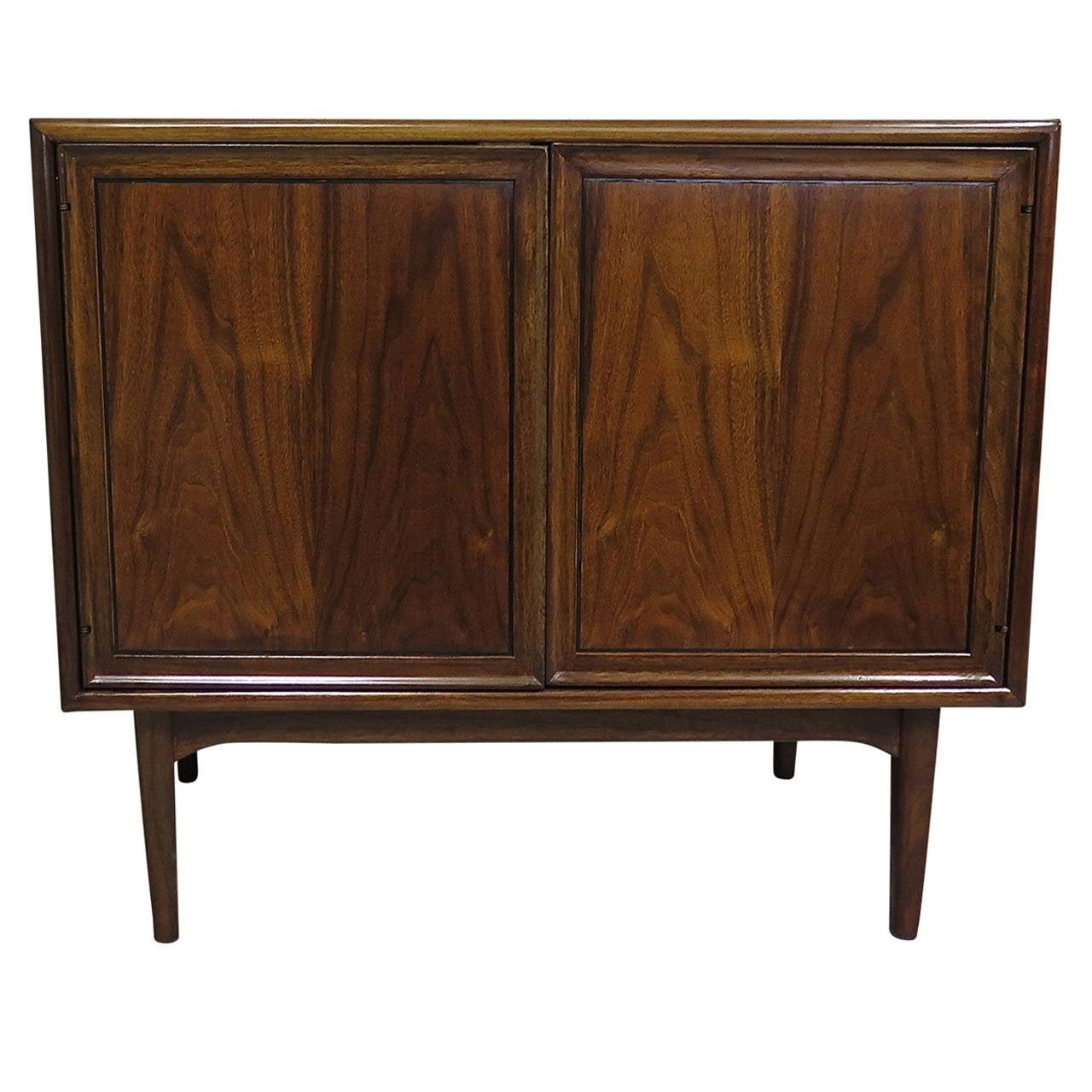 Drexel Two Door Walnut Cabinet 1950 Kipp Stewart For Sale At 1stdibs