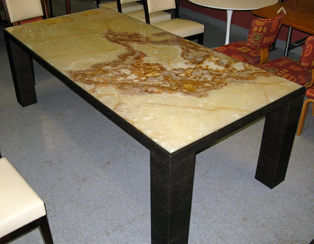 Amazing custom made onyx dining table with pull outs at for Amazing dining room table