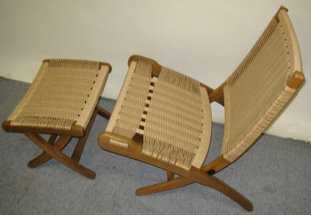 After Hans Wegner Pair Of Folding Chairs And Ottoman At