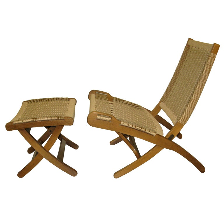 After Hans Wegner Pair of Folding Chairs and Ottoman at 1stdibs