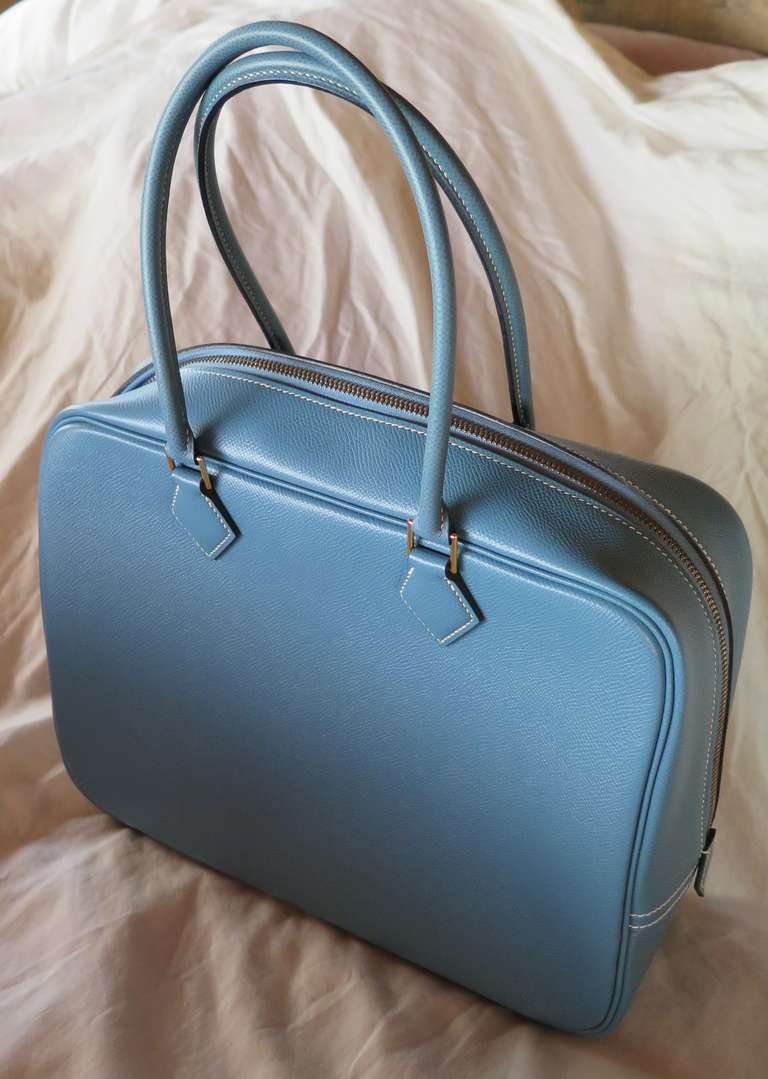 Hermes Blue Jean Leather Plume Bag For Sale at 1stdibs