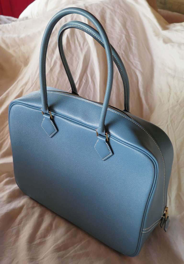 hermes bag outlet - Hermes Blue Jean Leather Plume Bag at 1stdibs
