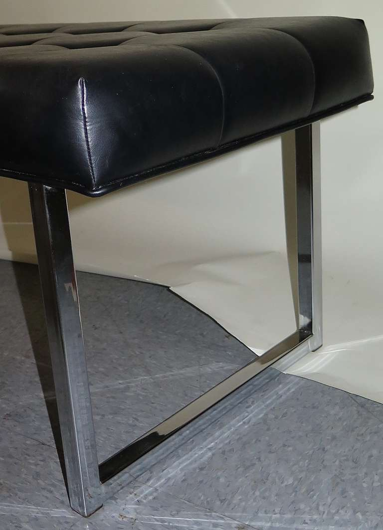 Chrome Leg Vinyl Seat Bench 1970 At 1stdibs
