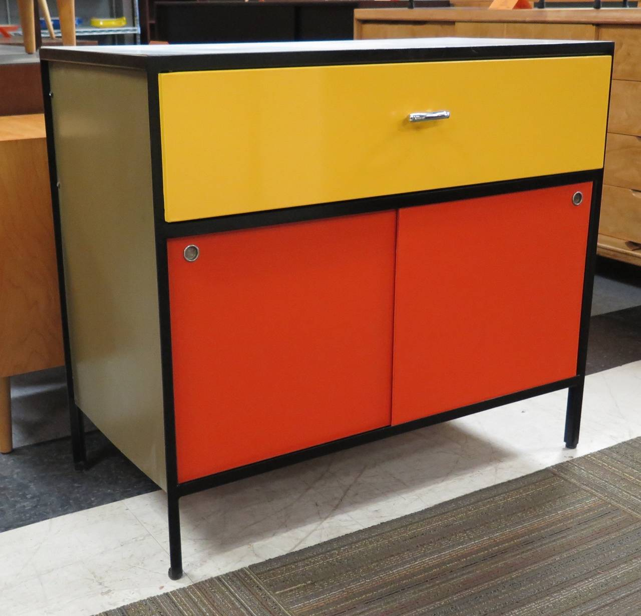Steel Frame Kitchen Cabinets: Vibrant 1950s George Nelson Steel Frame Cabinet Image 8
