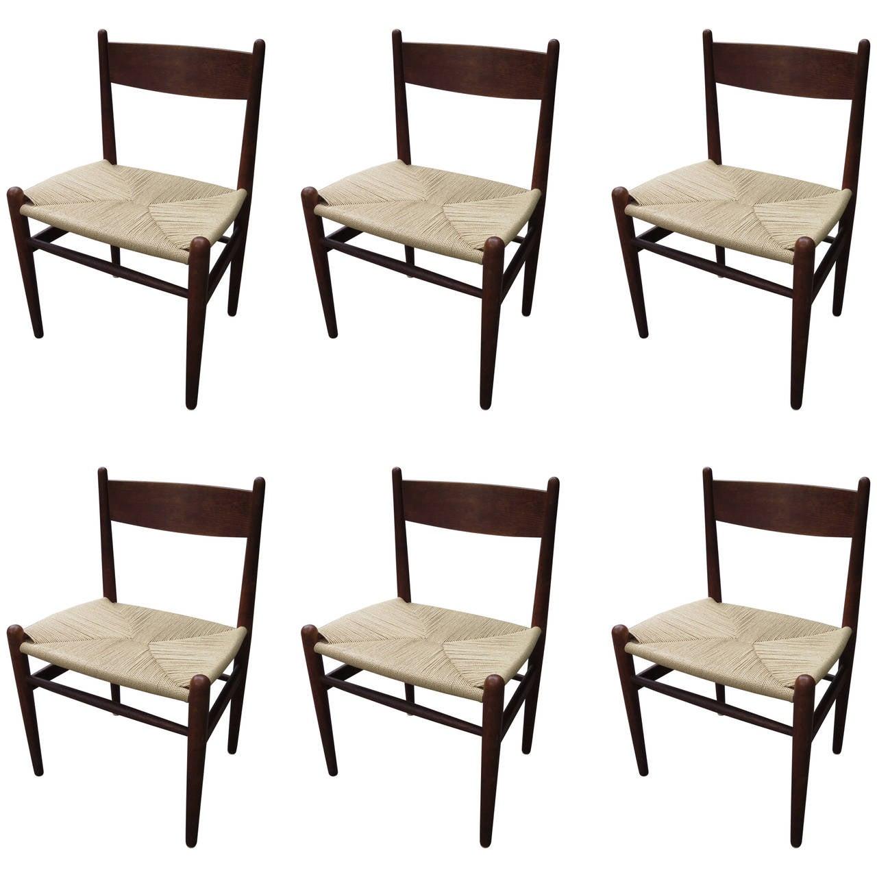 Gorgeous hans wegner set of 6 dining chairs at 1stdibs for Wegner dining chair