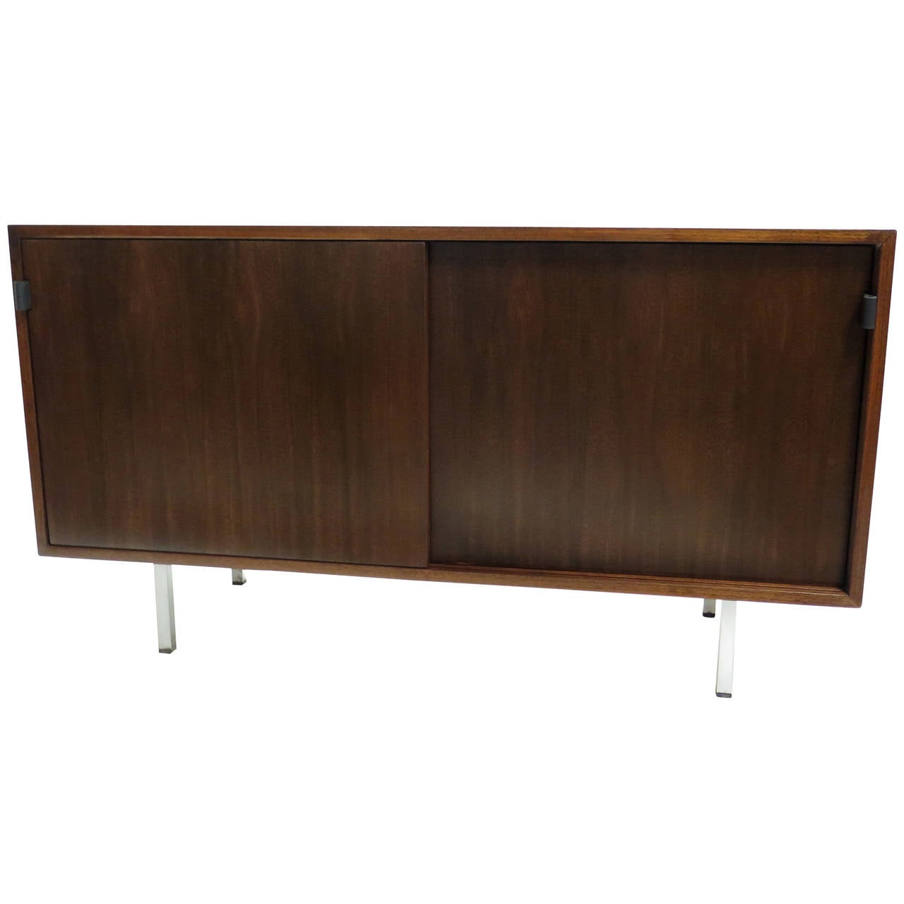 1960 knoll walnut cabinet with two sliding doors at 1stdibs for Sliding door cabinet