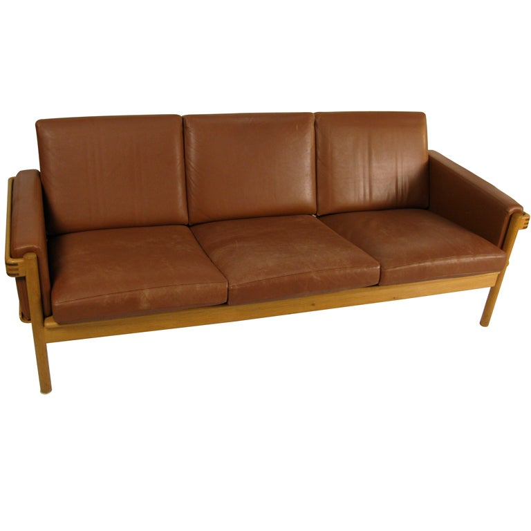 h w klein for bramin mobler leather couch at 1stdibs. Black Bedroom Furniture Sets. Home Design Ideas