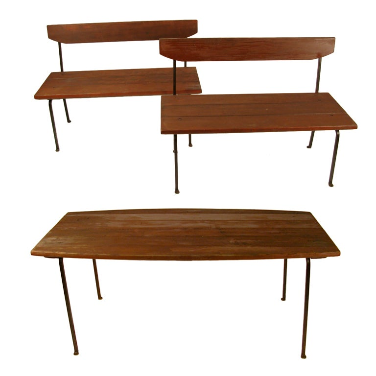 Wood and iron outdoor table and bench set very heavy - Wood and iron garden bench ...