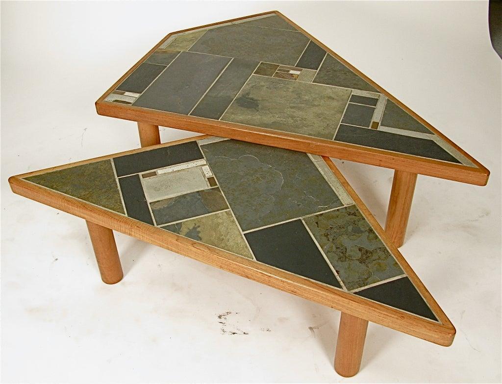 1970 Danish Pair Coffee Tables By Britt Sallingboe In Teak Slate At 1stdibs