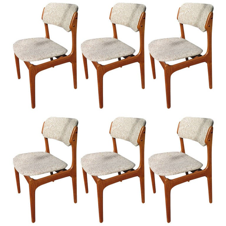 1960 eric buck for od mobler set of 6 side chairs at 1stdibs