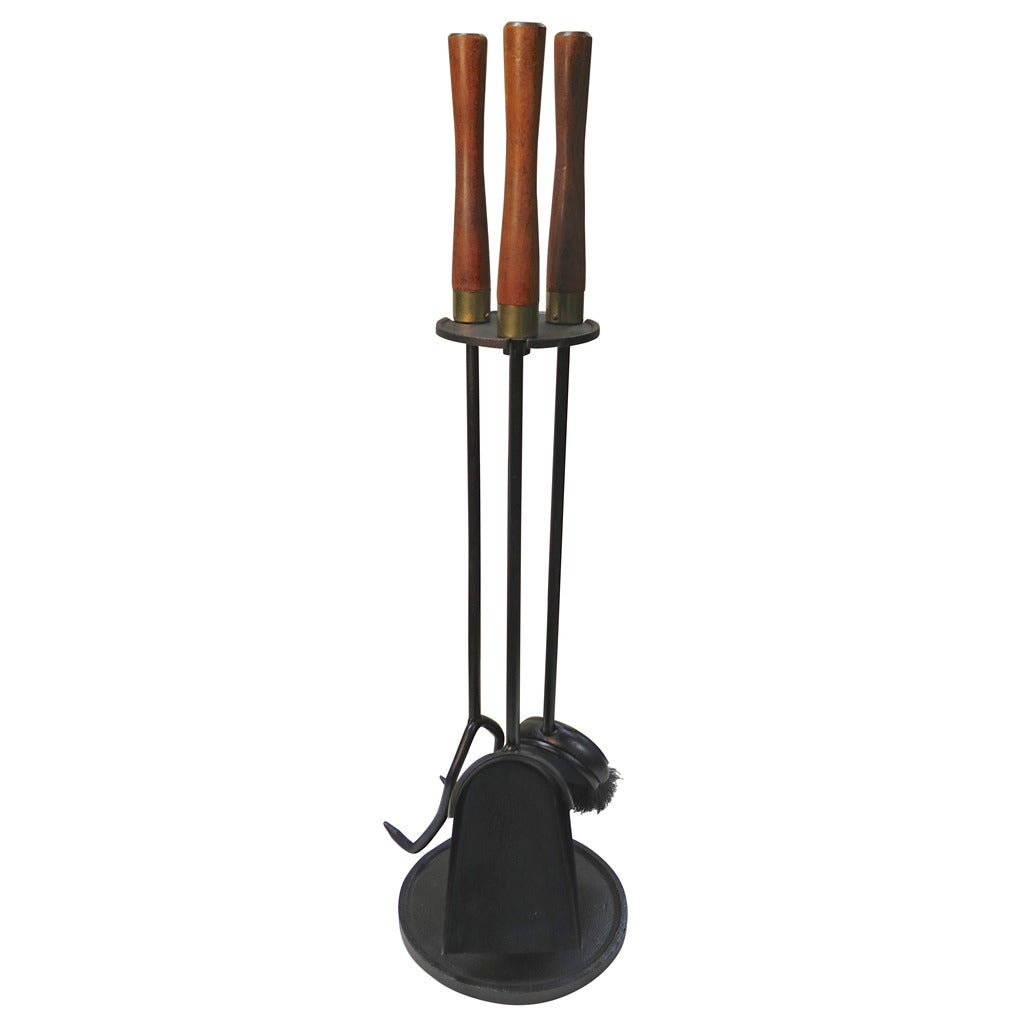 1960 Wood Handle Fireplace Tools with Round Base at 1stdibs