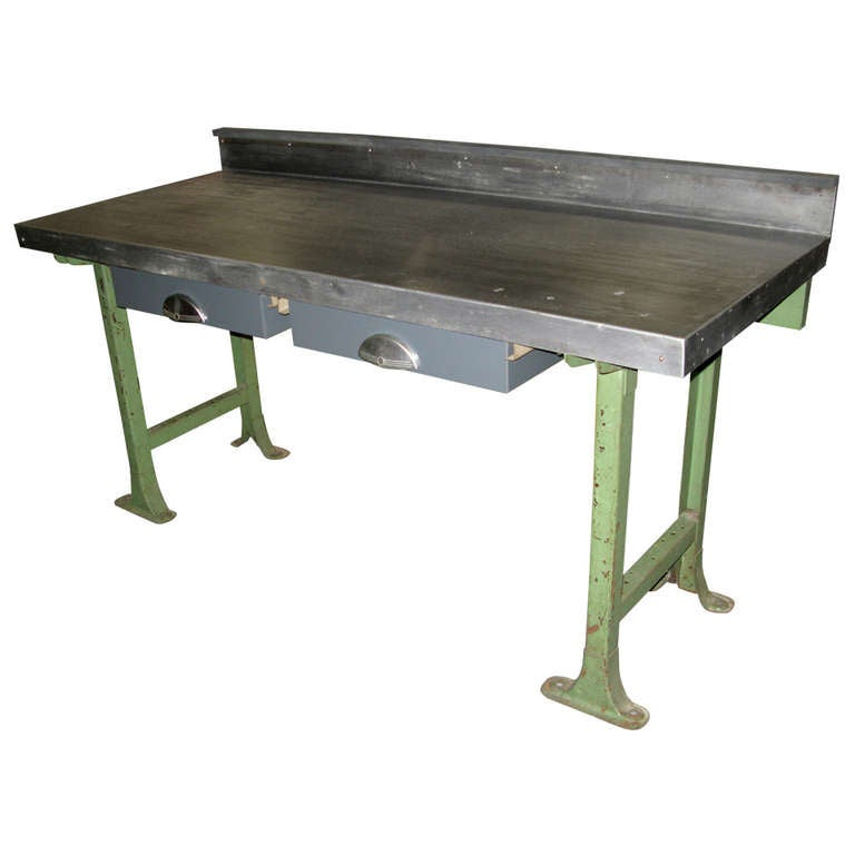 Industrial Nike Drafting Table Ca 1950: 1940 Vintage Industrial Steel Top Work Table For Sale At