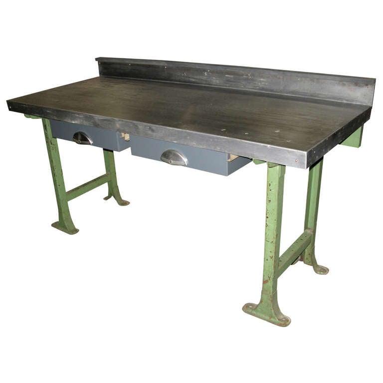 Beautiful 1940 Vintage Industrial Steel Top Work Table For Sale