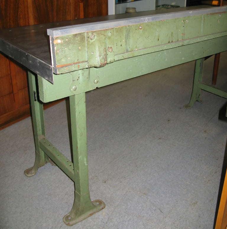 1940 vintage industrial steel top work table for sale at 1stdibs. Black Bedroom Furniture Sets. Home Design Ideas