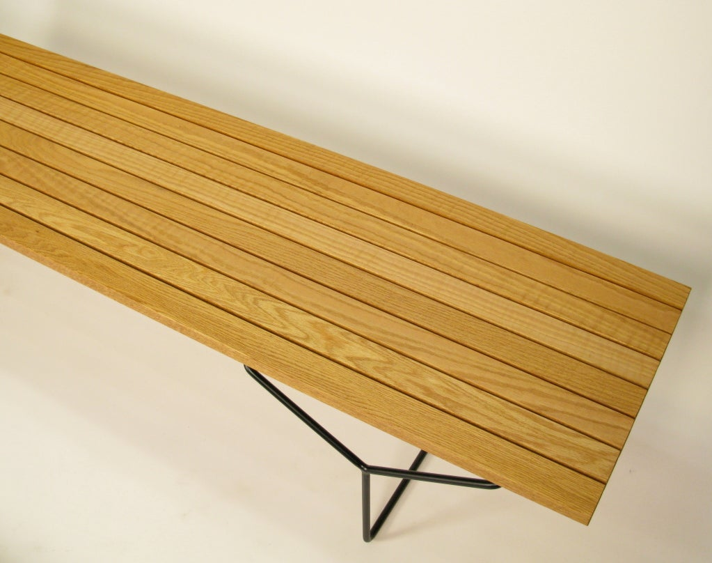 1960 Bertoia For Knoll Oak Slat Bench At 1stdibs