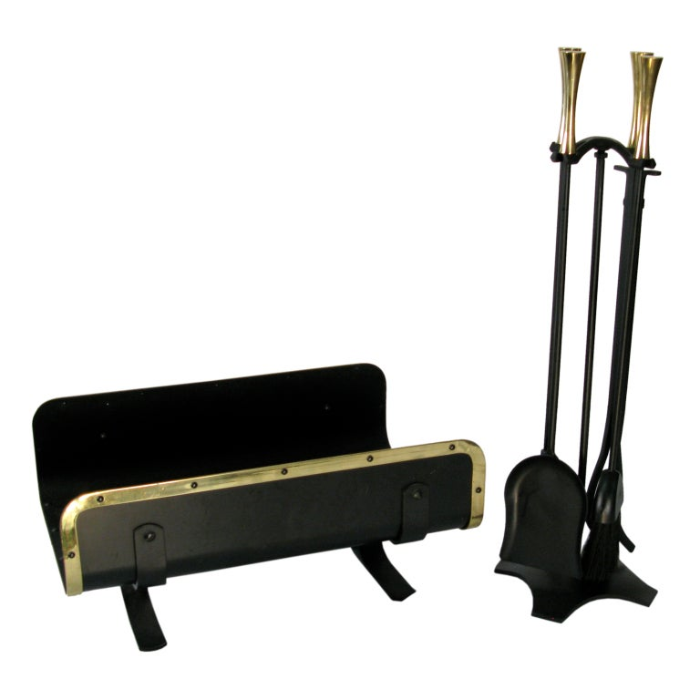 1960 brass and iron fireplace tools and log holder at 1stdibs