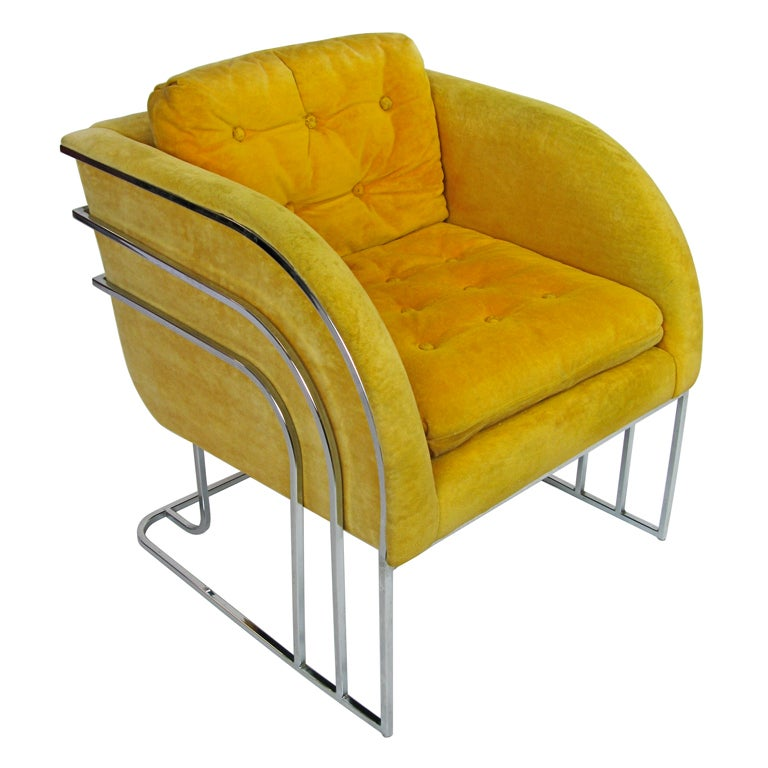 1970 milo baughman waterfall club chair at 1stdibs for Waterfall seat design