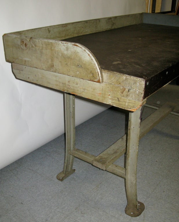 American 1940 Lyons Metal And Wood Tall Work Table For Sale