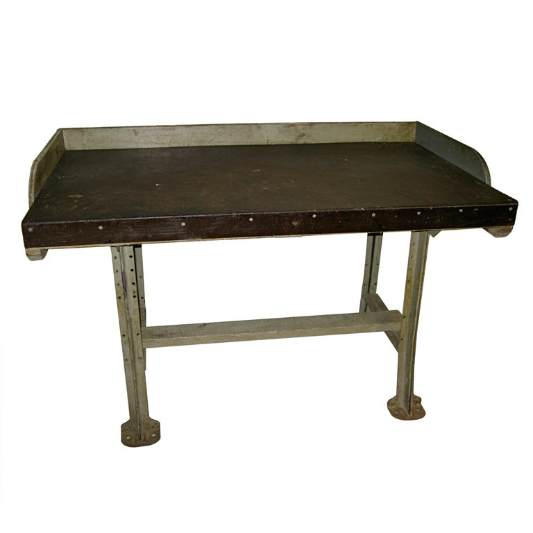 1940 Lyons Metal And Wood Tall Work Table At 1stdibs