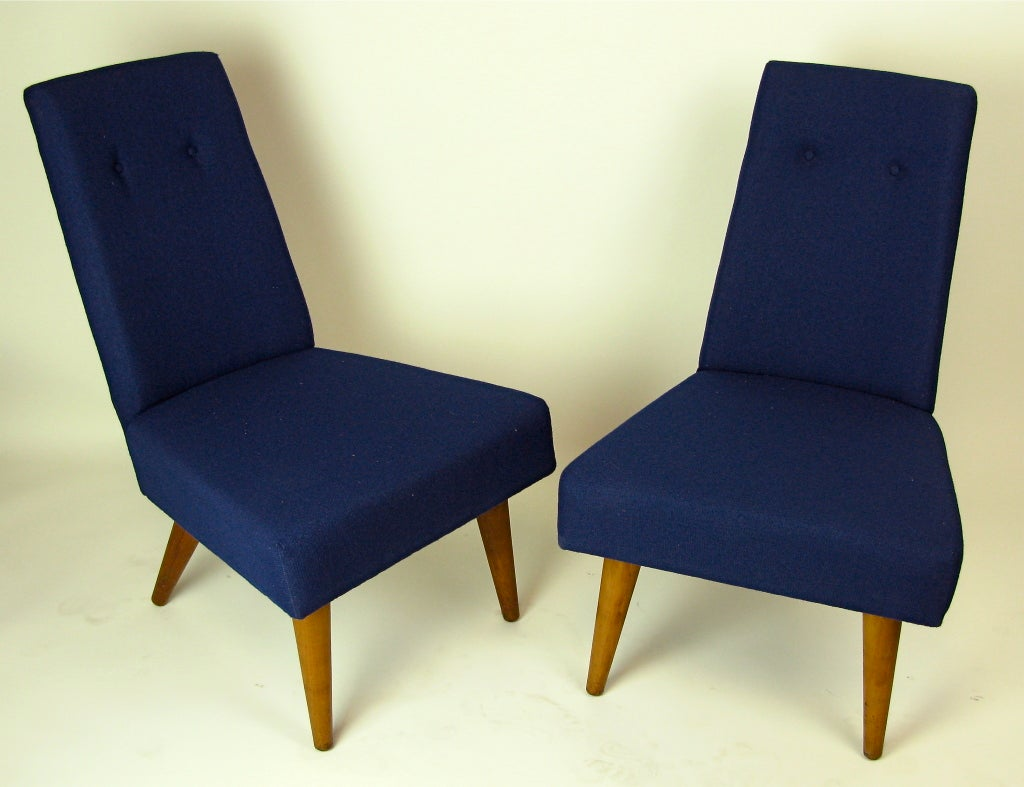 1960 unusual low slipper style pair of chairs at 1stdibs for Sixties style chairs