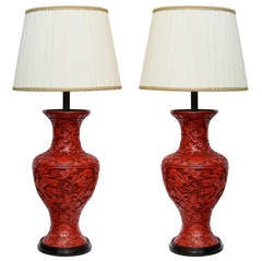 A Massive Pair Of Red Lacquered Cinnabar Lamps. 19th Century