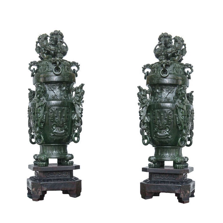 Pair Of Solid Jasper Jade Premium Green Color Palace
