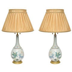 Pair of Bronze-Mounted Chinese Porcelain Lamps
