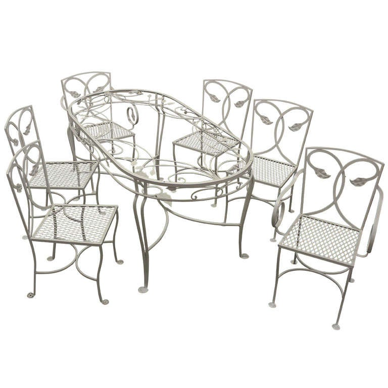 Salterini wrought iron patio chairs and table at 1stdibs - Wrought iron furniture for patio fine contrasts ...