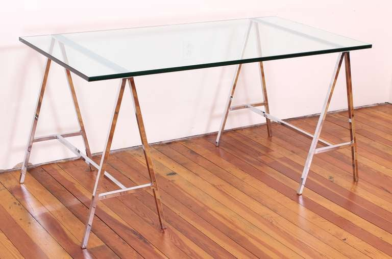 1970 S Chromed Steel And Glass Trestle Table Or Desk At