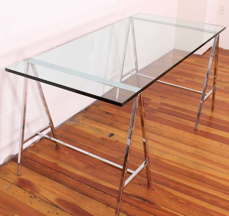 1970's Chromed Steel And Glass Trestle Table Or Desk At