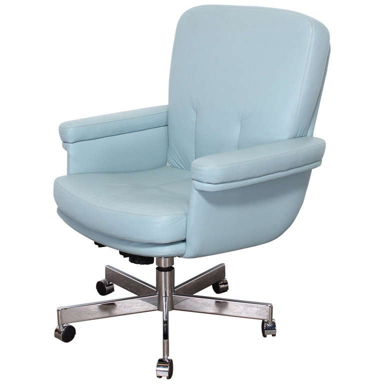 Mid Century Modernist High Back Or Desk Chair W New: Pace Style Blue Leather And Chrome Executive Chair, 1980