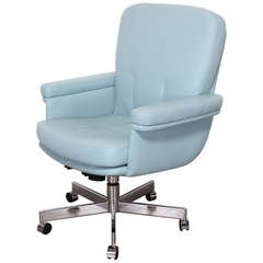 Pace Style Blue Leather and Chrome Executive Chair, 1980