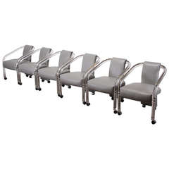 Set of Six Lucite Arm Chairs in the Style of Pace