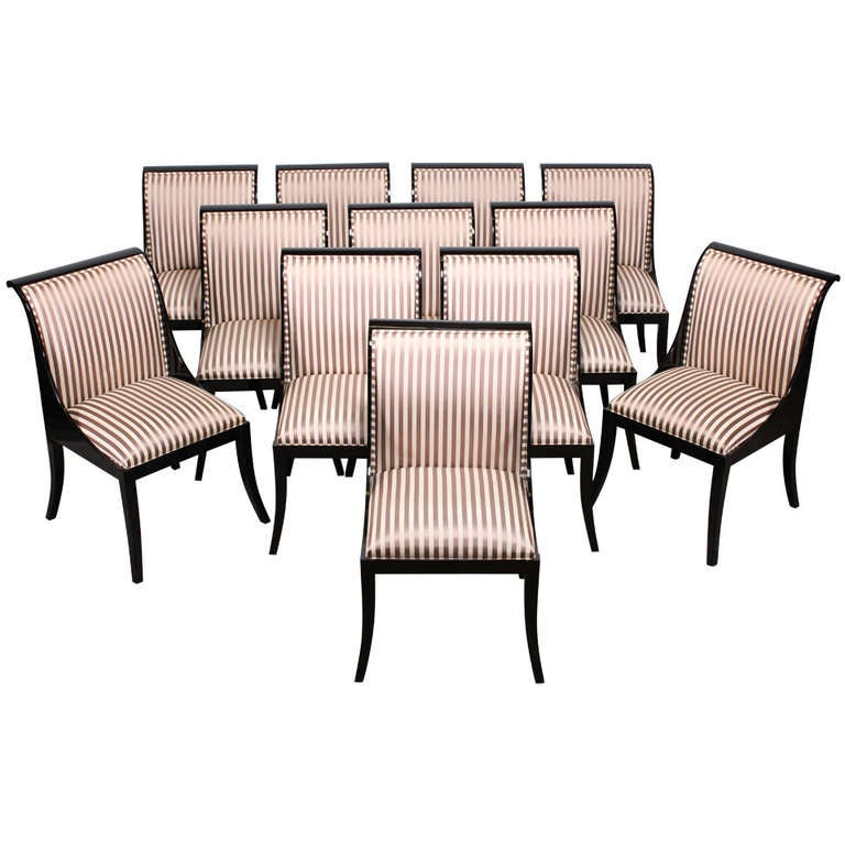 Black Lacquer Dining Room Chairs: 12 Custom Casa Bique Black Lacquer Klismos Dining Chairs