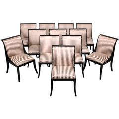 12 Custom Casa Bique Black Lacquer Klismos Dining Chairs